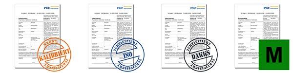 Verschiedene Kalibrierscheine und Zertifikate